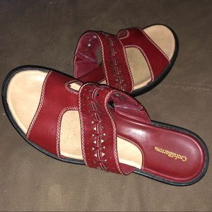Croft and Barrow red leather slide in Sz. 8